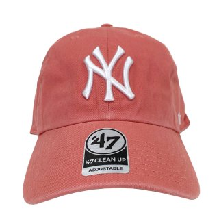 """'47 BRAND """"NEW YORK YANKEES"""" CLEAN UP TWILL CAP LIGHT RED"""