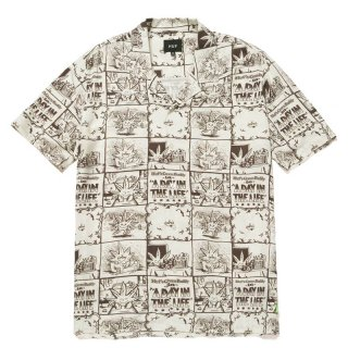HUF 420 COLLECTION DAY IN THE LIFE S/S WOVEN TOP NATURAL