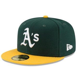NEW ERA 59FIFTY MLB ON FIELD HOME OAKLAND ATHLETICS DARK GREEN YELLOW