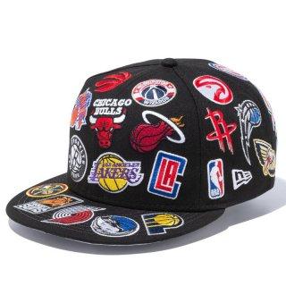 NEW ERA 9FIFTY TEAM LOGO ALLOVER NBA BLACK