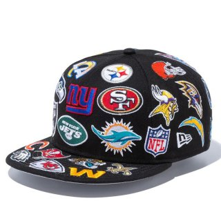 NEW ERA 9FIFTY TEAM LOGO ALLOVER NFL BLACK
