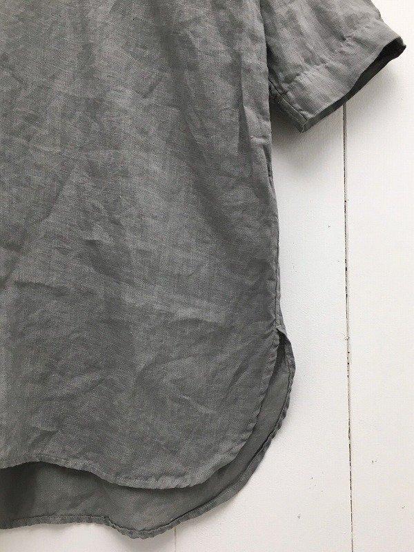 60/1 リネンローン 七分袖 比翼バンドカラーシャツ