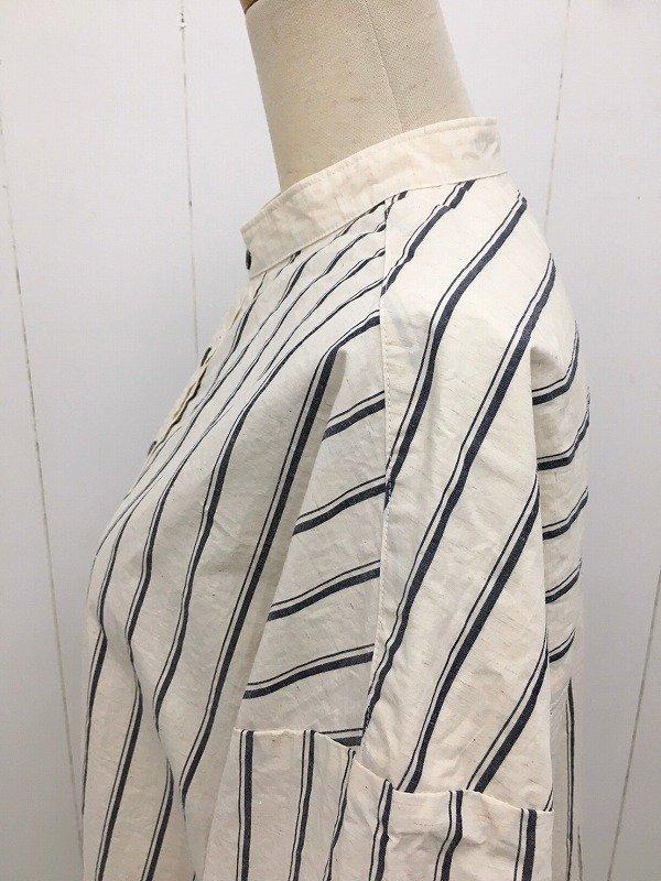 綿麻タイプライターストライプ 5分袖スタンドカラー クレリックプルオーバーワイドシャツ