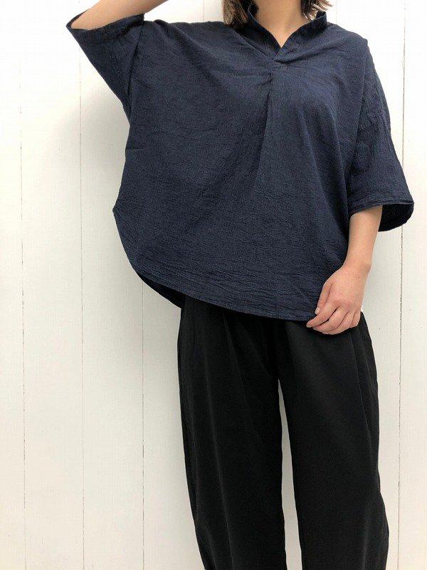 40/1 強撚インディゴシャンブレー 5分袖スタンドカラー ラウンドヘムスキッパーシャツ