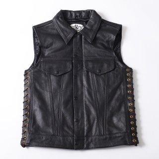 63Leathers Original Leather Vest CH-V ビンテージ デニムカットオフ スタイル レザーベスト レースアップ