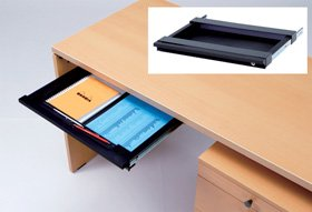 Garage パソコンデスク用 A3サイズトレ-引出し 鍵付き GF-A3TH-K 黒 ブラック