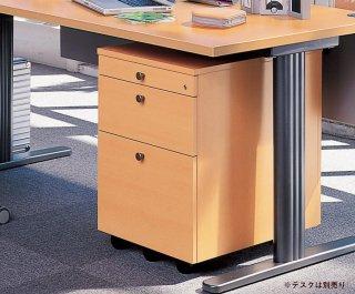Garage fantoni/ファントーニ/オフィス 木製ワゴン 3段 鍵付き gf046w3 幅42 奥行57 高さ62.9cm