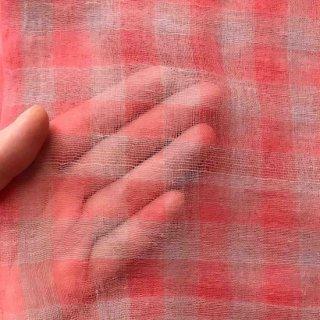 緯糸カディエアリーストール細格子縞 (ピンク 3type)