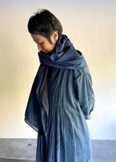 maku TURAN-Silk and Cotton Handwoven Scarf INDIGO