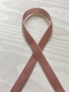 片面ベルベットリボン(1�幅) ピンク