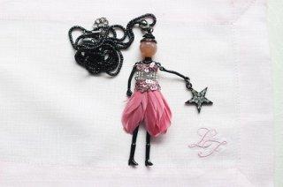 フランス製 マドモアゼルチャームアクセサリー、ペンダント ピンク