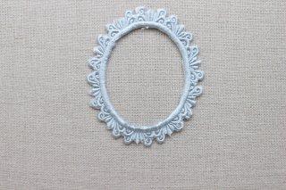 刺繍飾り(フレームオーバル グレー)