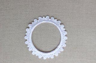 刺繍飾り(フレームラウンド ホワイト)
