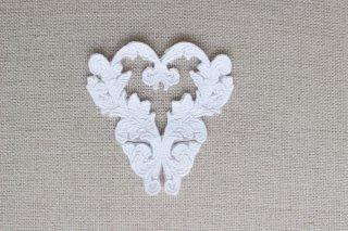 刺繍飾り(ハート ホワイト)
