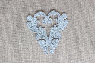 刺繍飾り(ハート グレー)