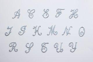 刺繍飾り(アルファベット グレー)