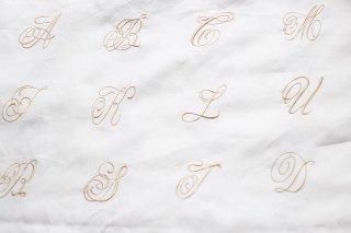 アウトレット品 オリジナル リネン アルファベット ホワイト