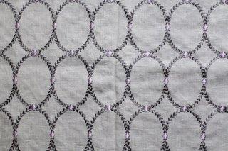 刺繍リネンオーバル パープル