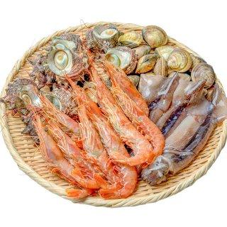 お買い得 海鮮バーベキューセット【送料無料】 サザエ えび イカ 活ハマグリ 約5人前