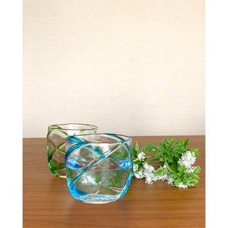 涼風ロックグラス2個セット(緑/水)