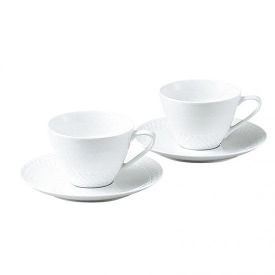 P5389L/1610ノリタケ リズモホワイト ティー・コーヒー碗皿ペア P5389L/1610 0128