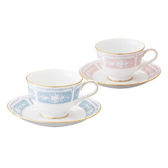 Y6578A/1507-14ノリタケ レースウッドゴールド ティー・コーヒー碗皿ペア(ブルー・ピンク)Y6578A/1507-14 0128
