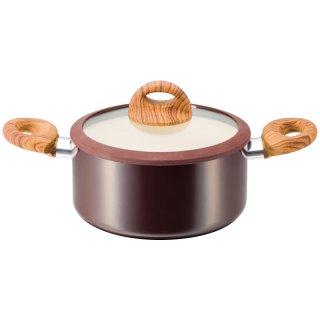 ククナ 木目調セラミックアルミ両手鍋20cm KKN-WA20R 0045