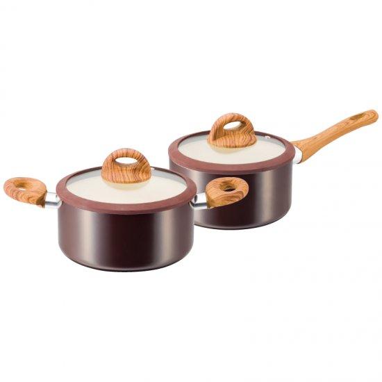 KKN-WA02Sククナ 木目調セラミックアルミ片手鍋18cm&両手鍋20cm KKN-WA02S 0045