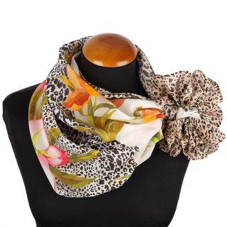シルクスカーフ 89 Silk touch レオパード