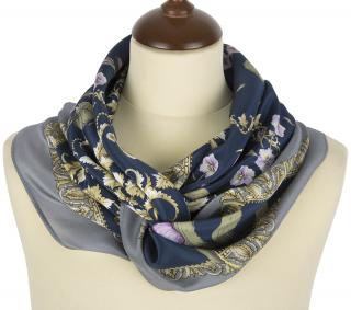 シルクスカーフ 89 Parma Violets  ゲインズボロ&ネイビー