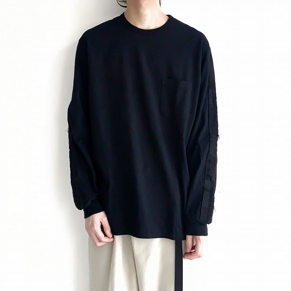<img class='new_mark_img1' src='https://img.shop-pro.jp/img/new/icons2.gif' style='border:none;display:inline;margin:0px;padding:0px;width:auto;' />kuon ボロトリミングロングティーシャツ sus4-2002-cs0419 color:D(black/black)