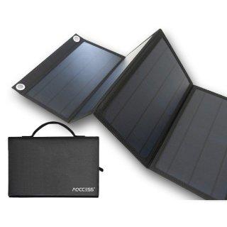 AQCCESS 折り畳み式 ソーラーパネル 40W 18V 単結晶 USB出力 ソーラー充電器 1年保証 スマホ充電 ソーラーチャージャー 非常用電源 携帯用 アクセス