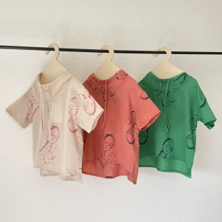 folkmade<br>face print hooded shirts<br>beige / pink rose / green<br>(S,M,L,LL)