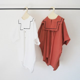 folkmade<br>sallor collar shirts<br>white / brick red<br>(S,M,L,LL)