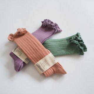 Collegien<br>josephine<br>lace-trim ribbed high socks<br>3colors<br>(18/20,21/23,24/27,28/31,32/35)