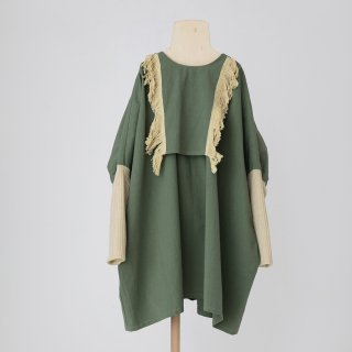 folkmade<br>fringe dress<br>moss green<br>(S,M,L,LL)