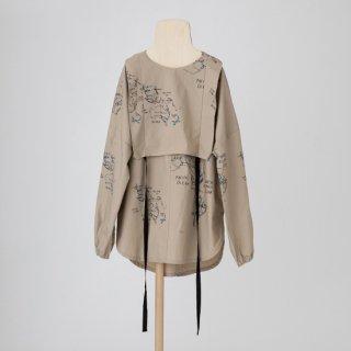 folkmade<br>map pattern tunic shirt<br>beige map print<br>(S,M,L,LL)