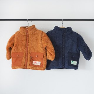 TINYCOTTONS<br>baby polar sherpa jacket<br>toffee / ink blue<br>(12m,18m,24m)