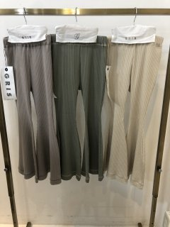 <img class='new_mark_img1' src='https://img.shop-pro.jp/img/new/icons14.gif' style='border:none;display:inline;margin:0px;padding:0px;width:auto;' />GRIS<br>rib flared pants<br>sage green / ash gray<br>(S,M,L)