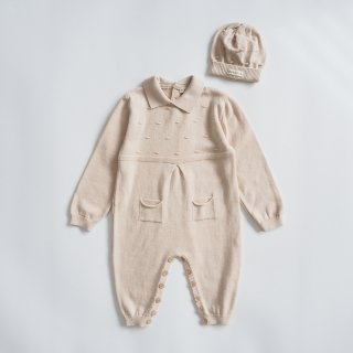 <img class='new_mark_img1' src='https://img.shop-pro.jp/img/new/icons14.gif' style='border:none;display:inline;margin:0px;padding:0px;width:auto;' />minimom<br>clover knit baby romper set<br>cream<br>(12m)