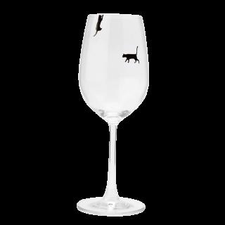 ネコとワインに酔いしれるワイングラス  6脚セット