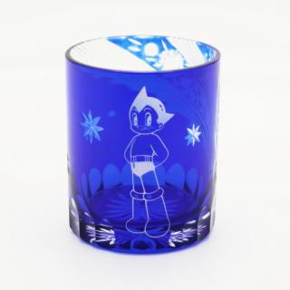【送料無料】切子グラス「アトム」瑠璃色