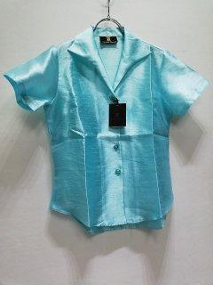 HAMMONTON COLLECTION 淡ブルー襟付半袖ブラウス/4817-0120898*SS#US*