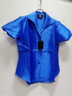 HAMMONTON COLLECTION 濃ブルー襟付半袖ブラウス/4817-0120898*SS#US*
