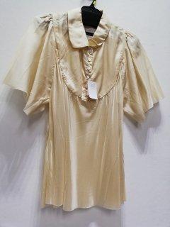ベージュ衿付半袖デザインブラウス/OB-00459*SS#US*