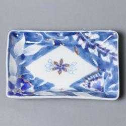 更紗詰め 藍 角小皿 [藍染]|朴木友美