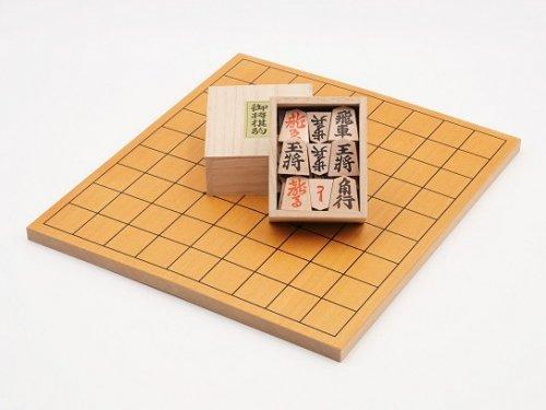 折り将棋盤・木製駒 押彫 裏赤セット