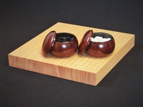 卓上碁盤20号・ガラス碁石竹印・プラ碁笥銘木セット  (送料無料)
