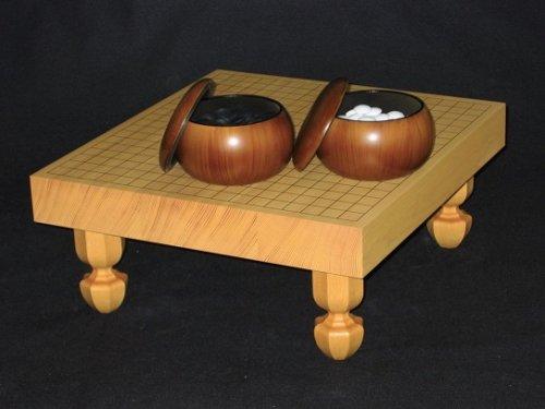 卓上-足付兼用碁盤・ガラス碁石竹印・プラ碁笥銘木セット  (送料無料)