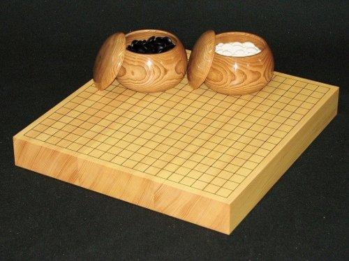 卓上碁盤20号・ガラス碁石竹印・碁笥 栗特大セット  (送料無料)